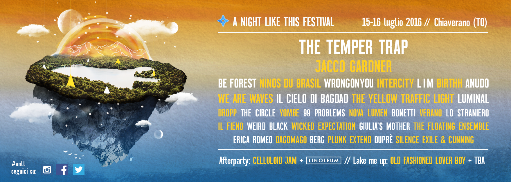 La LineUp di A Night Like This Festival 2016!