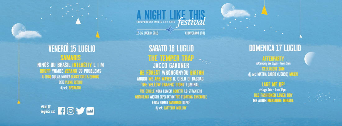 La LineUp di A Night Like This Festival 2016!